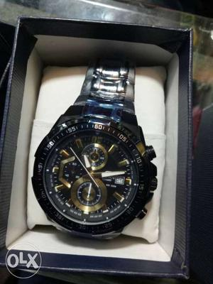 Round Black Chronograph Watch With Silver Link Band In Box