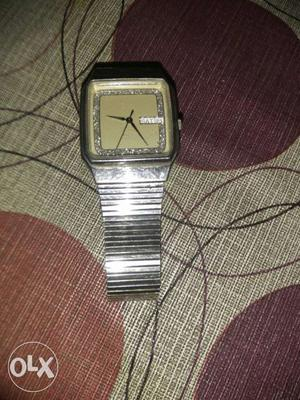 Square Gray Faced Analog Watch With Silver Strap Titan