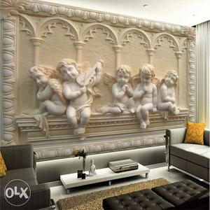 White Cherub Embossed Wall Art