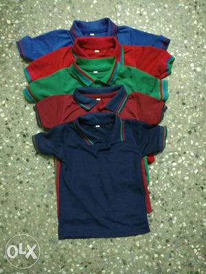 Kids polo t shirt with the colours of 5.size