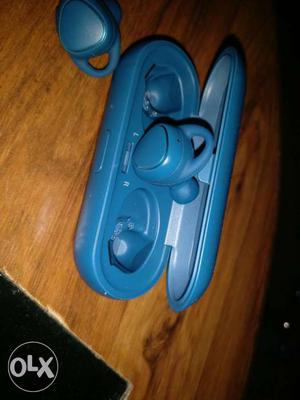 Blue Bluetooth Earbuds With Case