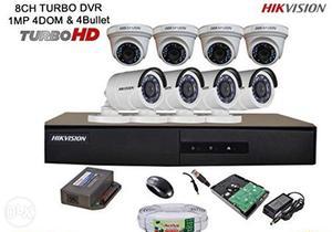 8 Turbo Hd cctv cameras Hikvision company set 1tb