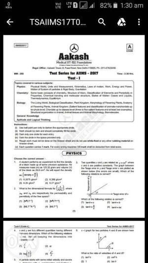 Aakash  test series in pdf with ans key
