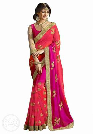 Dual Shaded saree with border work.(limited stock available)