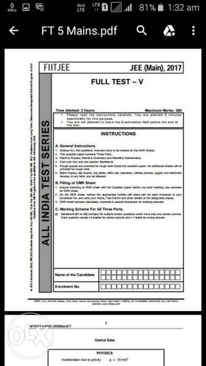 FIITJEE 3 yr test series in pdf with solution