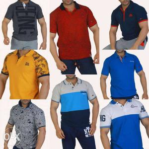 Men's Yellow, Blue, And White Polo Shirts