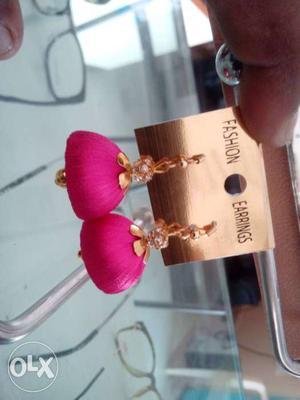 Pink Fashion Silk Thread Jhumka Earrings