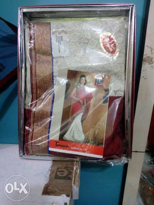 Red And Gray Sari In Box