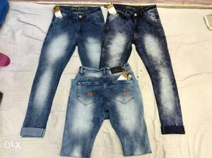 Three White And Blue Denim Jeans And Shorts