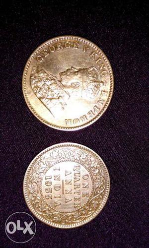 2 Bronze One Quarter Anna India Coins