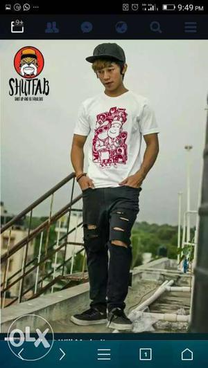 A cool streetwear white t. shirt