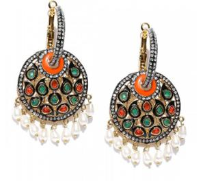 Gold Plated Stone-Studded Jhumkas In Pink Stone #Artificial