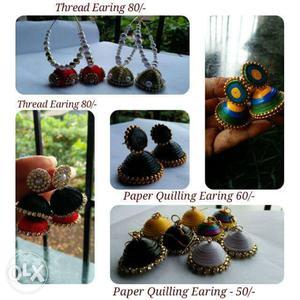Handmade PaperQuilled Rakhi, Jhumkas & Earrings