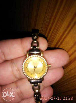Ladies Titan nebula watch. Gold plated dial