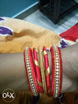 Red And Gold Bangle Bracelets