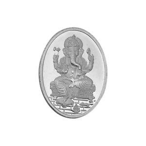 Ganesha Oval Shape Silver Coin of 5 Gram in 999 Purity /