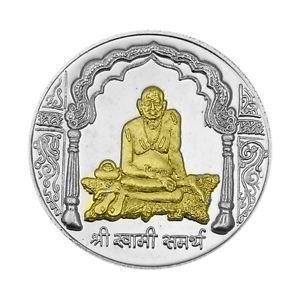 Swami Samarth Partial Gold Polish Silver Coin of 10 Gram in