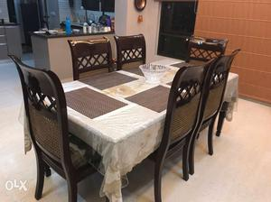 Rectangular White Floral Tablecloth Table With Six Chairs