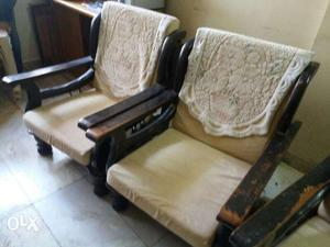 Wooden sofa 3 seater and single seaters 2 No's