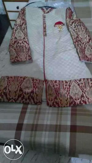 White And Red Sherwani