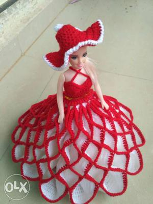 White Haired Doll With Red And White Knitted Dress Ad Hat