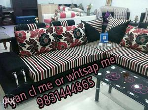 White, Red And White Sectional Couch