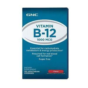 GNC Vitamin B MCG Cherry 120 Vegetarian Loznges