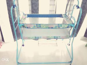 New born baby crib. Blue colour. 6 months old.