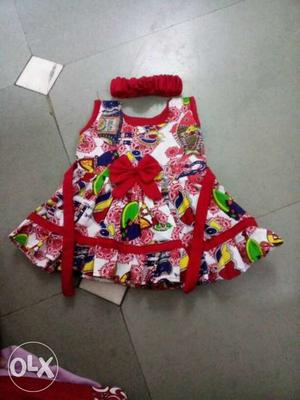 Toddler's White, Red And Blue Sleeveless Dress