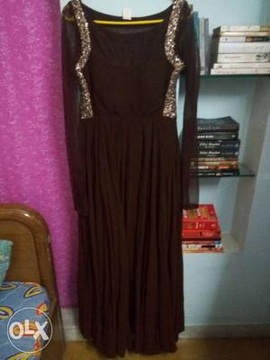 Dark brown dress with mesh detailing on shoulder