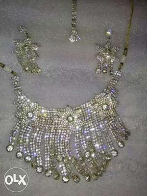 Heavy American diamond necklace with maang Tika