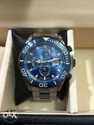Round Blue Chronograph Watch With Silver Link Band