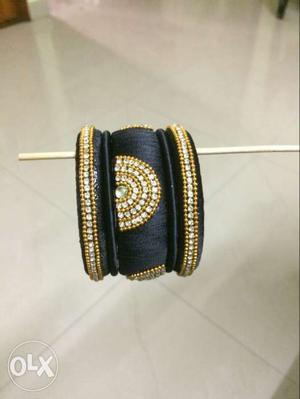 Black And Gold Beaded Silk Thread Bangle