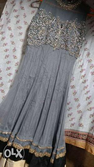 Gray And Beige Sleeveless Pleated Dress