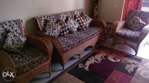 Cane Sofa Set with Cover and tea pie