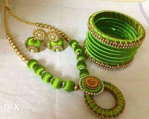 Green Silk Bangles And Necklace