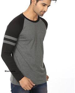 Men's Raglan Neck Full Sleeve Cotton T-Shirt*