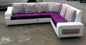 Purple, And White Sectional Corner sofa