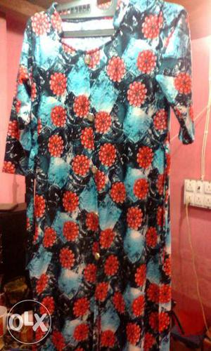 Red,black And Teal Floral Shift Dress