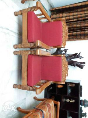 Two Brown Wooden Padded Red Cushioned Arm Chair