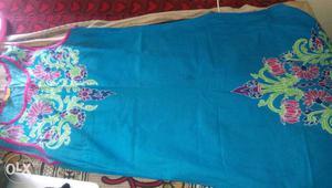 Women's Blue,green And Pink Floral Sleeveless Dress