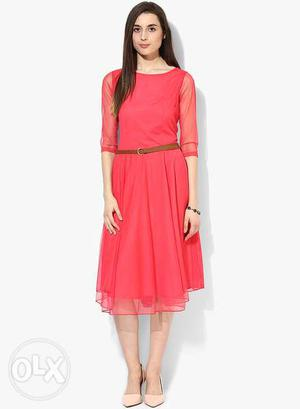 Women's Pink Elbow-sleeve Sheer Overlay Pleated Dress