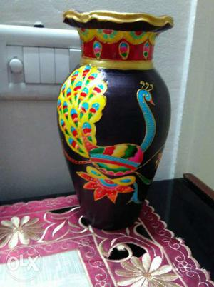 Beautifully hand painted pot using glass colours