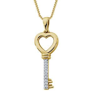Riva jewels 925 Silver Two Tone White CZ Beautiful Heart Key