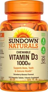 Sundown Naturals Vitamin D IU, 120 Chewable Tablets