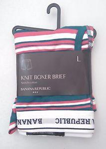 BANANA REPUBLIC Mens Striped Knit Boxer Brief Cotton Stretch
