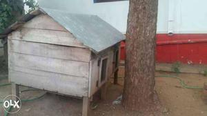 Beige Wooden Chicken Coop