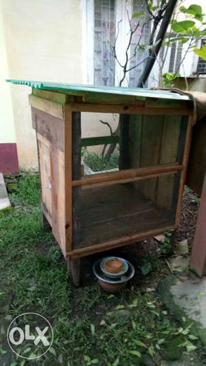 Brown Wood-frame With Wire Chicken Coop