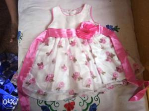 Girl's White And Pink Floral Sleeveless Dress
