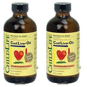 2 x ChildLife Cod Liver Oil 8 Oz. Natural Strawberry Flavor,